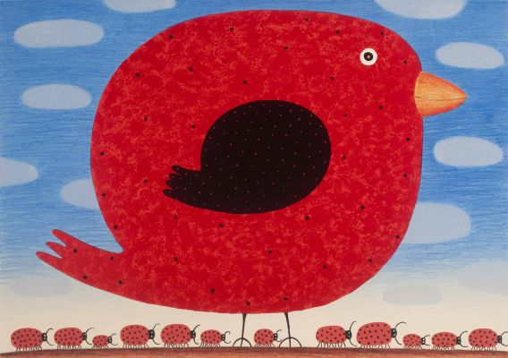 Red Canary with Ladybird Army 2016 Lithograph 48 X 68 cm Dean Bowen Low Res